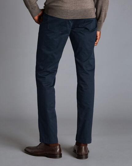 Cotton Stretch 5-Pocket Pants - Navy