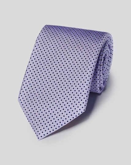 Silk Geometric Print Tie - Lilac & Blue