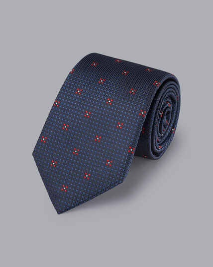 Silk Textured Floral Tie - Navy & Red