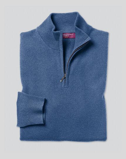 Cashmere Zip Neck Sweater - Blue