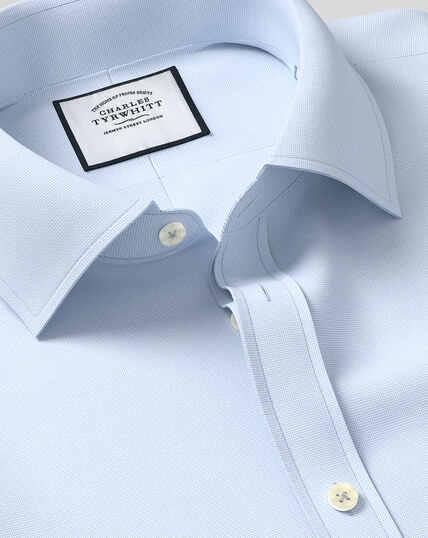 Egyptian Cotton Lattice Weave Shirt - Sky
