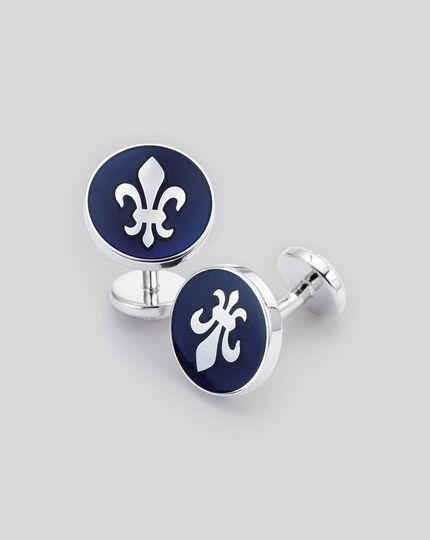 Enamel Fleur-de-Lys Round Cufflinks - Navy