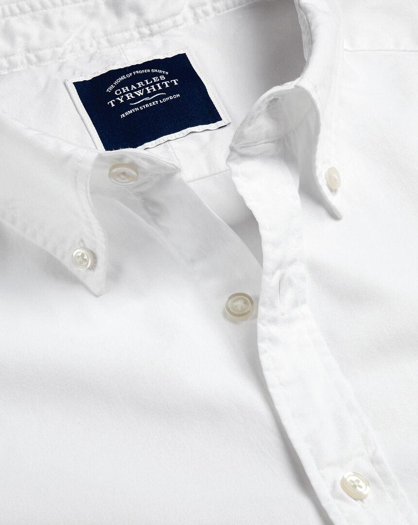 Garment-Dyed Fine Twill Shirt - White