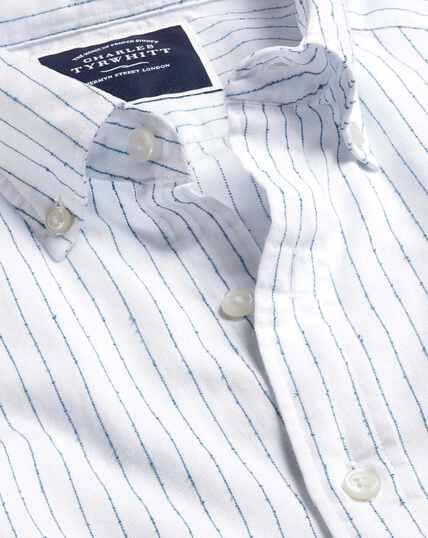 Button-Down Collar Fine Stripe Bouclé Shirt - White & Blue