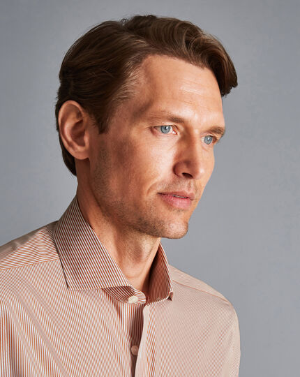 Cutaway Collar Non-Iron Bengal Stripe Shirt - Rust