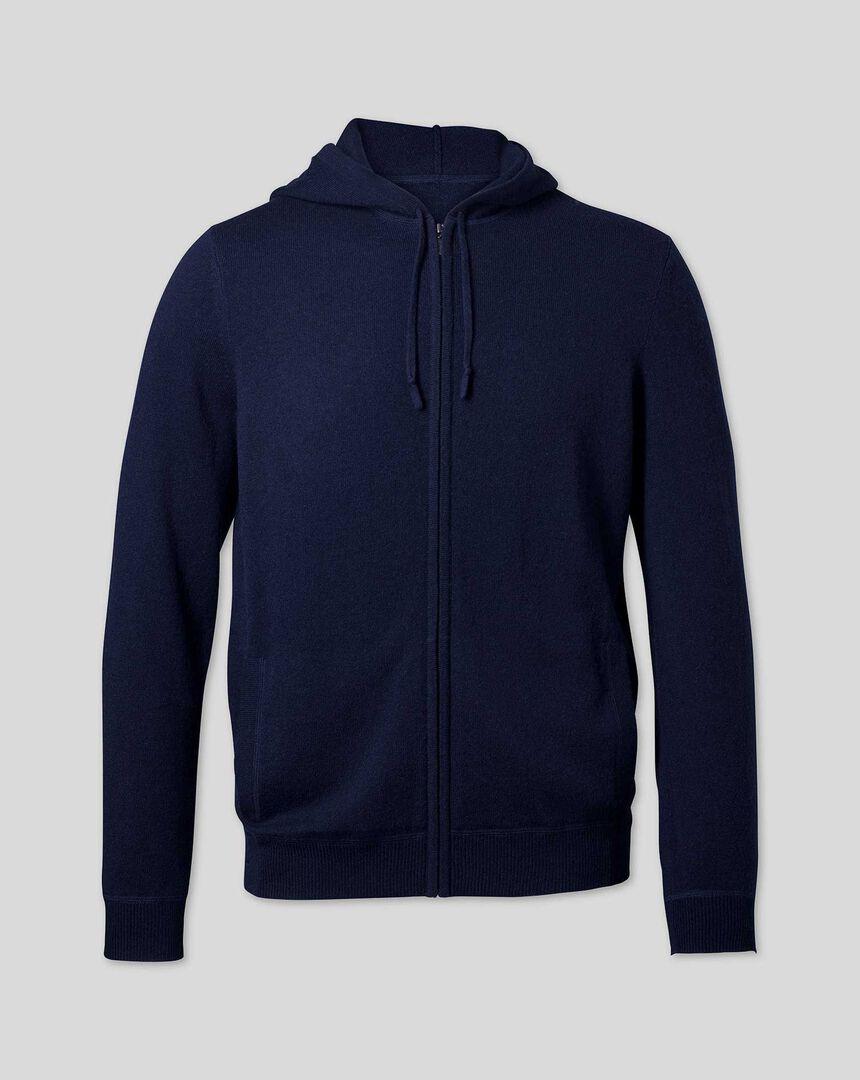 Merino Cashmere Hooded Zip Through Sweater - Navy
