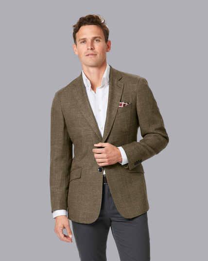 Basketweave Textured Jacket - Tan