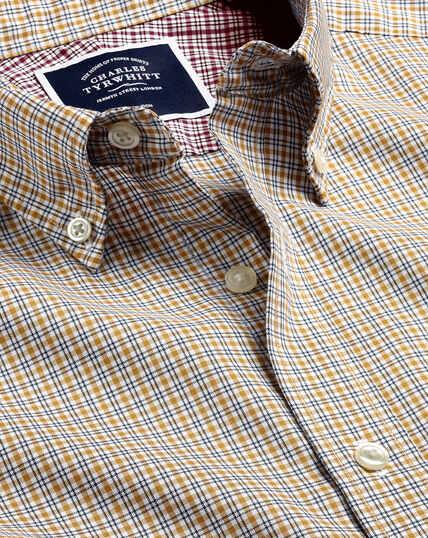 Button-Down Non-Iron Cotton Stretch Oxford Check Shirt - Dark Yellow Multi
