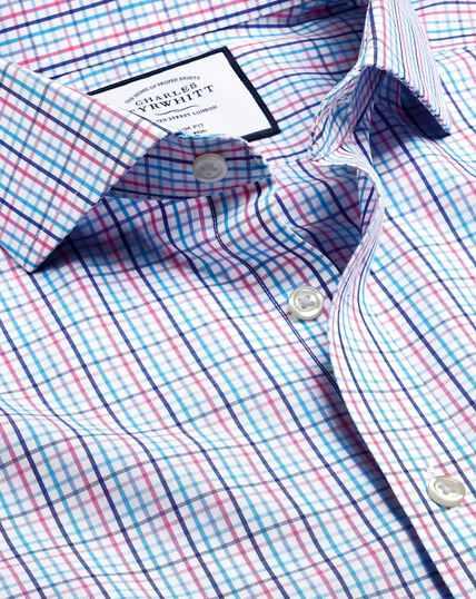 Cutaway Collar Non-Iron Tyrwhitt Cool Poplin Check Shirt - Blue & Pink