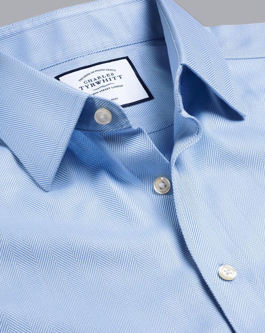 Non-Iron Herringbone Shirt - Sky Blue