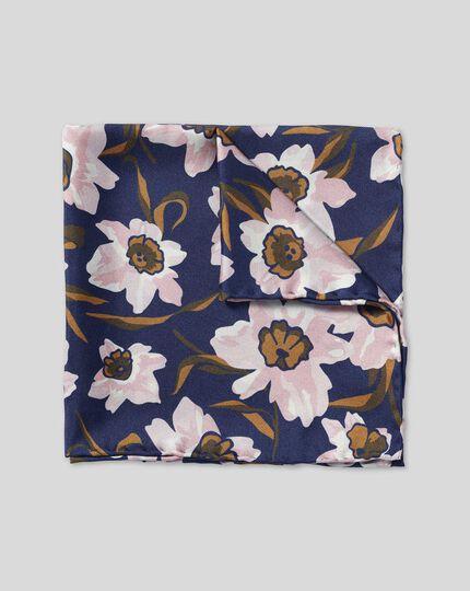 Watercolour Floral Print Pocket Square - Navy & Pink