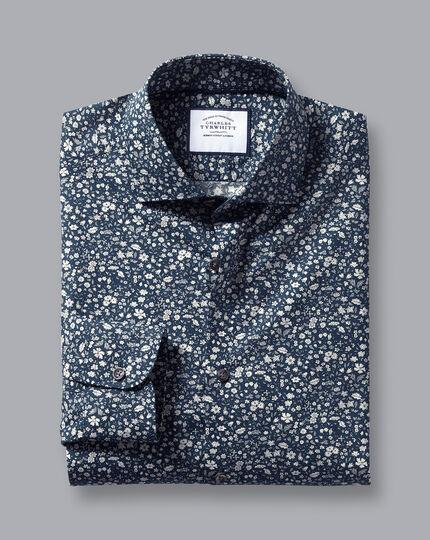 Made with Liberty Fabric Semi-Spread Collar Shirt - Navy