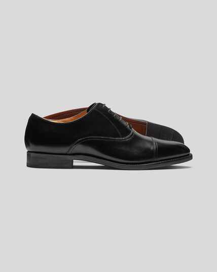 Goodyear Welted Oxford Toe Cap Shoes - Black
