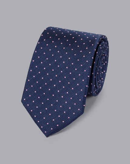 Stain Resistant Silk Textured Spot Tie - Navy & Pink