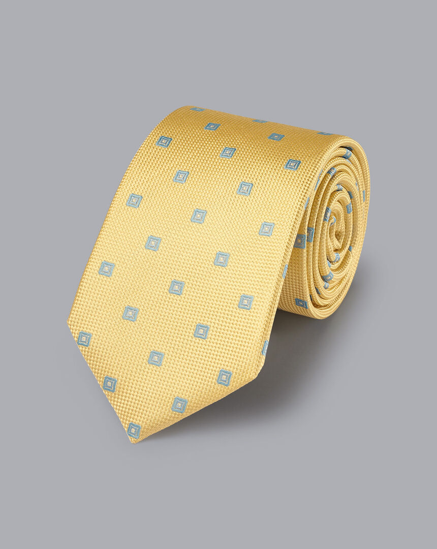Silk Square Print Tie - Lemon