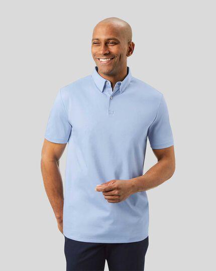 Smart Short Sleeve Jersey Polo - Sky