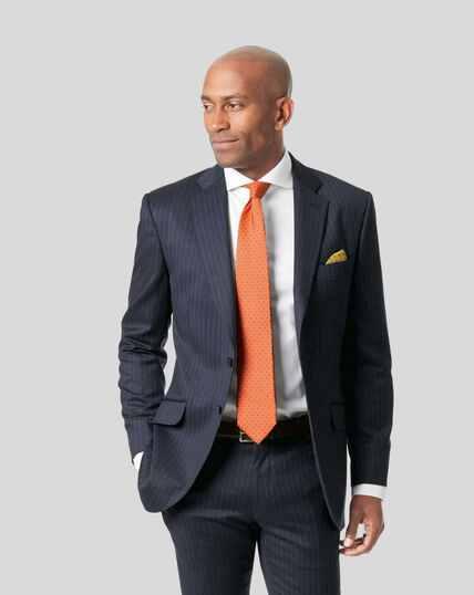 Italian Stripe Suit Jacket - Dark Blue