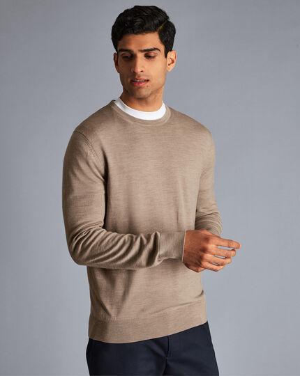 Merino Crew Neck Sweater - Oatmeal