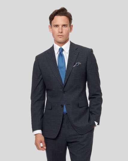Grid Check Suit Jacket - Blue