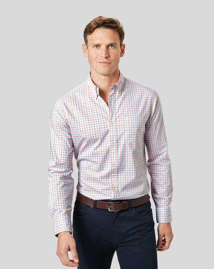 Bügelfreies Popeline-Hemd aus Stretchgewebe mit Button-down-Kragen und Gingham-Karos- Orange & Blau