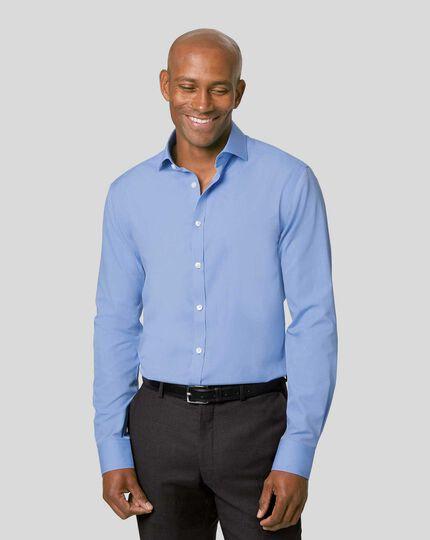 Cutaway Collar Non-Iron Tyrwhitt Cool Poplin Shirt - Mid Blue