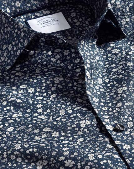 Hemd mit Semi-Haifischkragen Made with Liberty Fabric - Marineblau