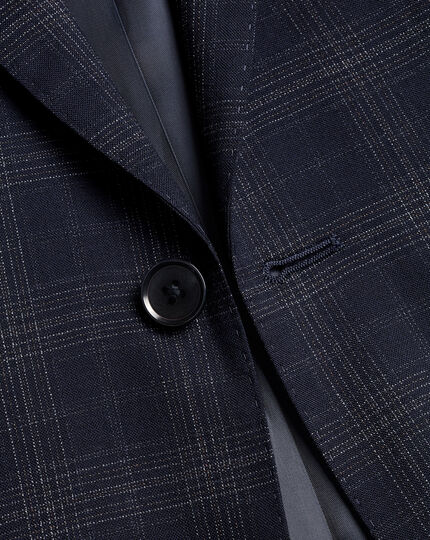 Windowpane Check Suit Jacket - Navy