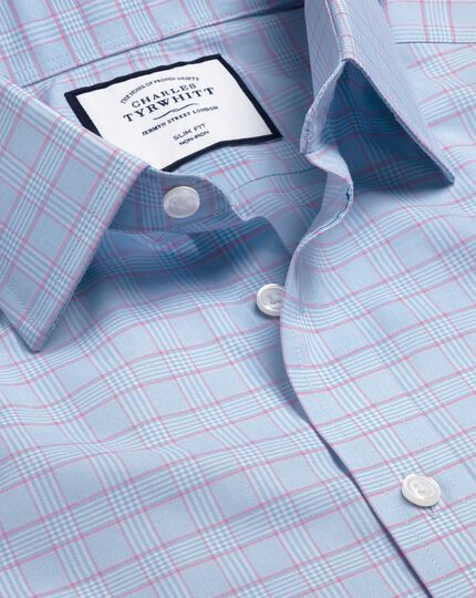 Spread Collar Non-Iron Prince Of Wales Check Shirt - Blue & Pink