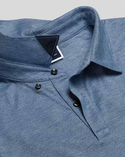 Cotton TENCEL™ Mix Jacquard Polo - Blue