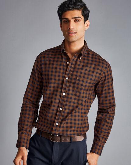 Bügelfreies Twill-Hemd mit Button-down-Kragen und großen Gingham-Karos - Dunkelorange