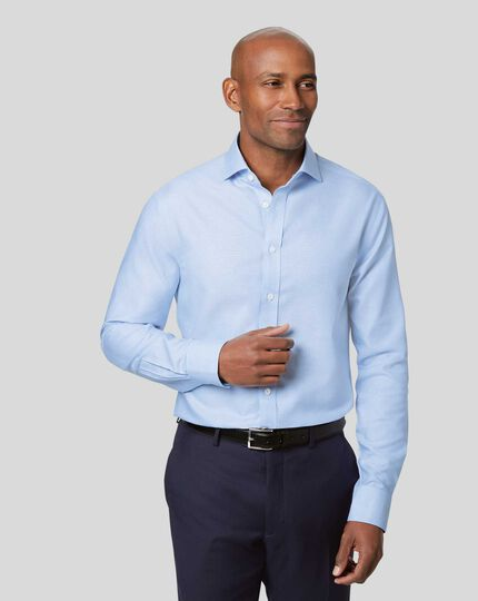 Spread Collar Non-Iron Ludgate Weave Shirt - Sky Blue
