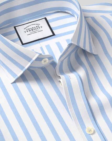 Spread Collar Cotton Stretch with TENCEL™ Stripe Shirt - Sky
