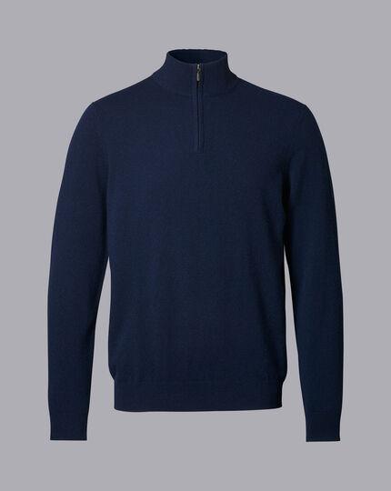 Cashmere Zip Neck Sweater - Navy