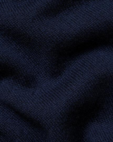Merino Cashmere Zip Neck Jumper - Navy