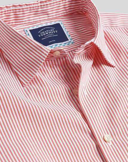 Classic Collar Brighton Collection Stripe Shirt - Coral