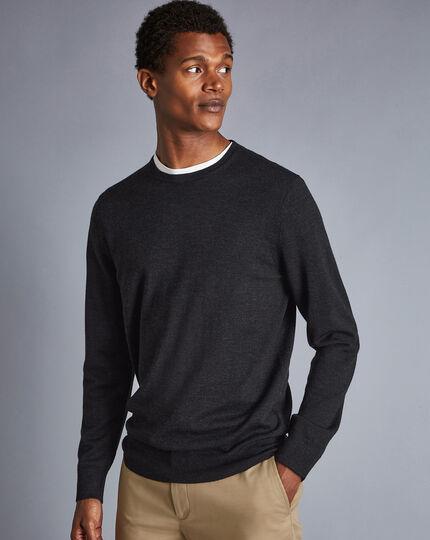 Merino Crew Neck Sweater - Charcoal Grey