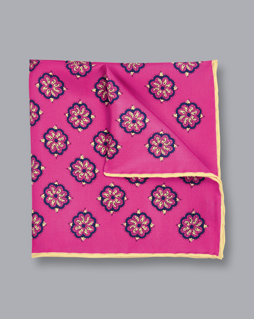 Medallion Print Pocket Square - Magenta