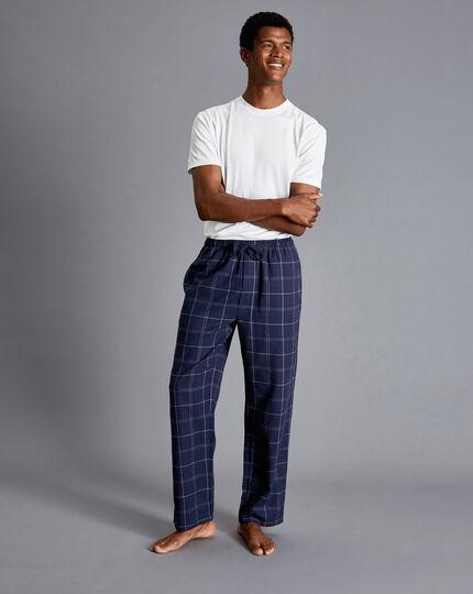 Schlafanzughose mit Karos - Französisches Blau & Weiß