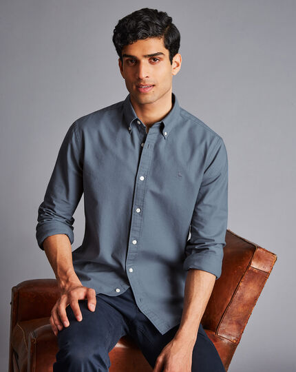 Button-Down Collar Washed Oxford Shirt - Mid Grey