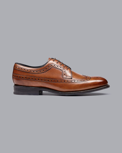 Goodyear Welted Brogue Wing Tip Derby Performance Shoes - Chestnut Brown