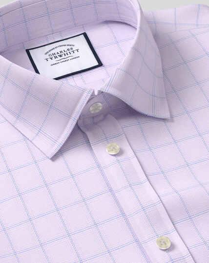 Classic Collar Egyptian Cotton Herringbone Shirt - Lilac