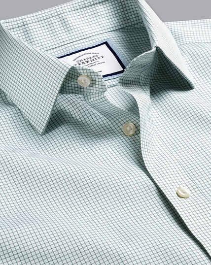 Non-Iron Twill Mini Grid Check Shirt - Green