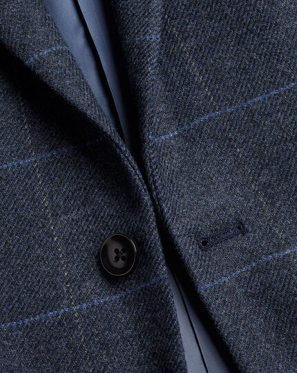 Eco Blend Windowpane Check Jacket - Blue