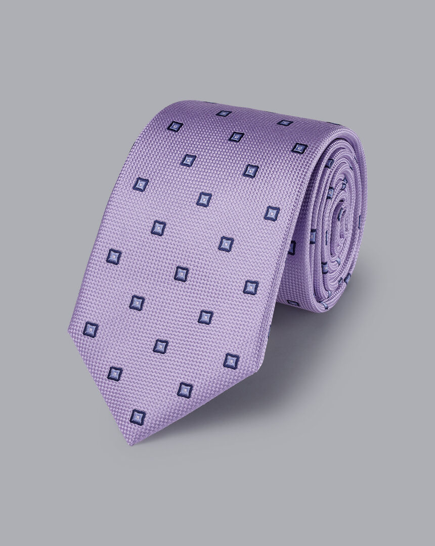 Silk Square Print Tie - Lilac Purple