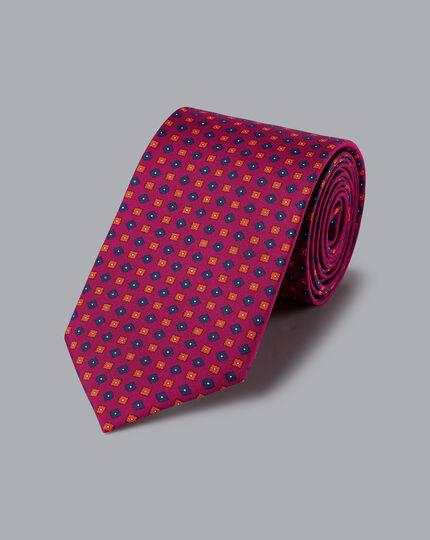Silk Geometric Print Tie - Berry