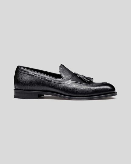Flexible Sole Tassel Loafers - Black