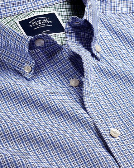 Button-Down Non-Iron Cotton Stretch Oxford Check Shirt - Blue Multi
