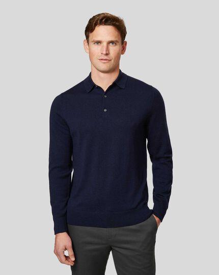Merino Polo Sweater - Navy