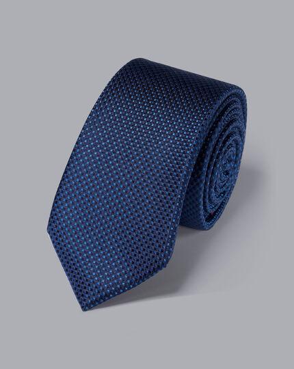 Schmutzabweisende schmale Krawatte aus Seide - Marineblau
