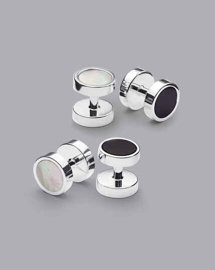 Mother of Pearl and Onyx Evening Studs - Silver